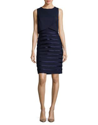 Pleated Sleeveless Sheath Dress by Phase Eight