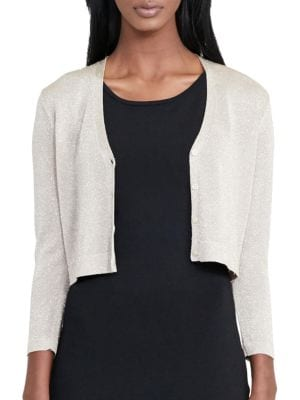 Cropped Metallic Cardigan by Lauren Ralph Lauren