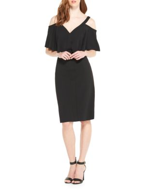 Cold-Shoulder Overlay Dress by Maggy London