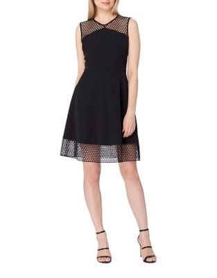 Lace Hem Fit-and-Flare Dress by Tahari Arthur S. Levine