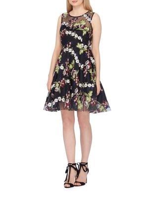 Embroidered Mesh Fit-and-Flare Dress by Tahari Arthur S. Levine