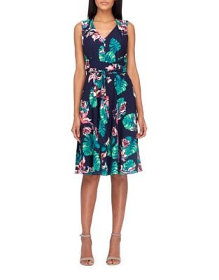 Palm Print Sleeveless Dress by Tahari Arthur S. Levine