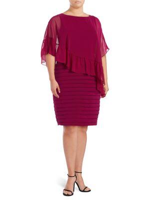 Ruffled-Overlay Sheath Dress by Adrianna Papell