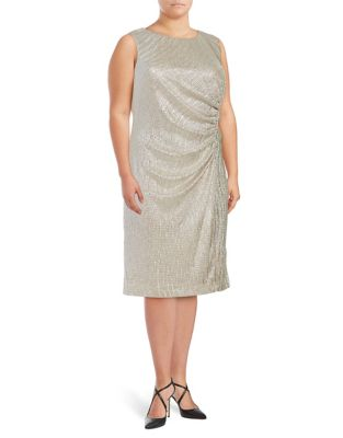 Plus Ruched Metallic Dress by Calvin Klein