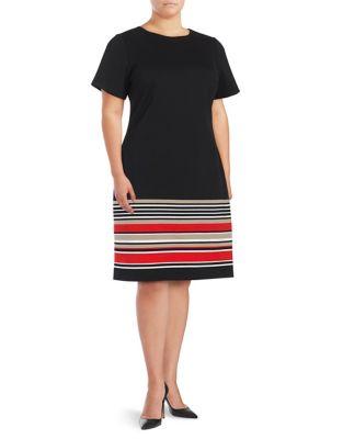 Striped Knit Dress by Calvin Klein Plus