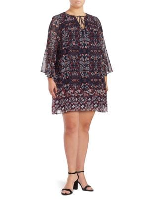 Plus Printed Crepe Shift Dress by Vince Camuto