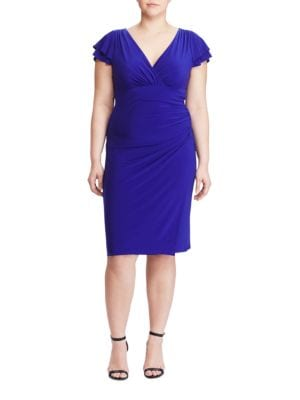 Plus Flutter Sleeve Jersey Sheath Dress by Lauren Ralph Lauren