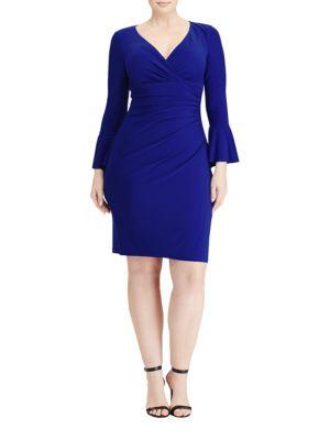 Plus Ruffled Cuff Sheath Dress by Lauren Ralph Lauren