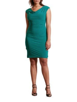 Photo of Plus Cowlneck Jersey Sheath Dress by Lauren Ralph Lauren - shop Lauren Ralph Lauren dresses sales