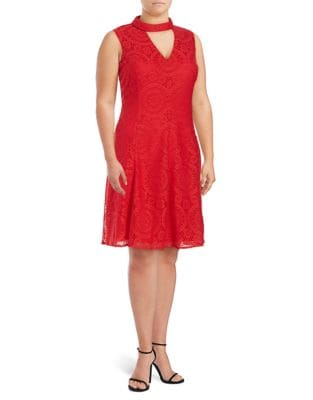 Plus Lace Choker Fit-&-Flare Dress by London Times