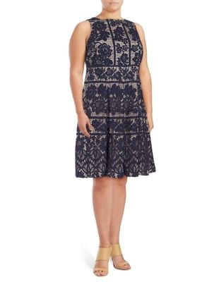 Plus Embroidered Fit-&-Flare Dress by London Times