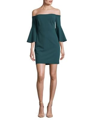 Off-the-Shoulder Crepe Sheath Dress by Cynthia Steffe