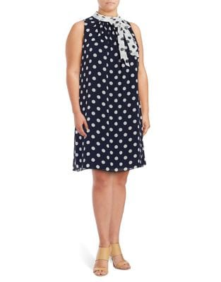Plus Polka Dot Shift Dress by London Times