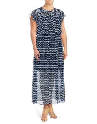 Plus Ruffled Sleeve Maxi Dress by London Times