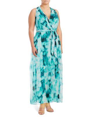 Plus Dyed Wrap Dress by London Times