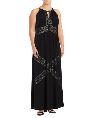 Plus Embroidered Maxi Dress by London Times