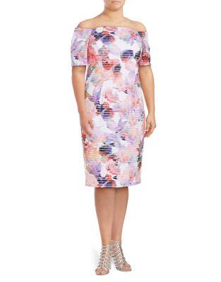 Plus Floral Sheath Dress by London Times