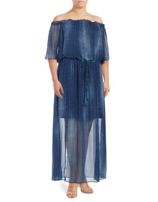 Plus Off the Shoulder Maxi Dress by London Times