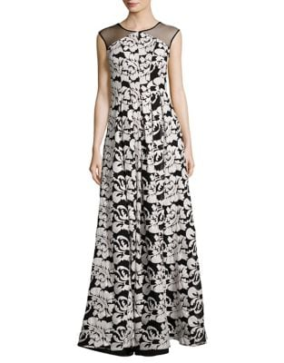 Floral Floor-Length Gown by Kay Unger