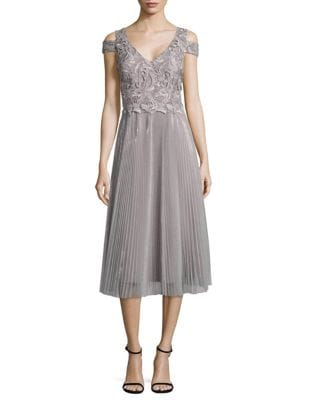 Cold-Shoulder Metallic Lace and Tulle Dress by Kay Unger