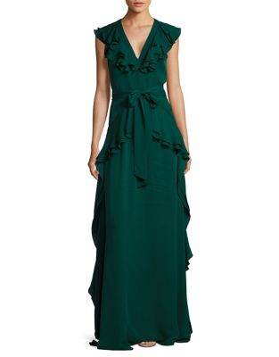 Ruffle Floor-Length Gown by Badgley Mischka Platinum