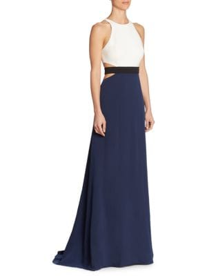 Colorblock Cutout Gown by Halston Heritage