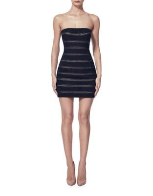 Striped Mesh Strapless Dress by Misha Collection