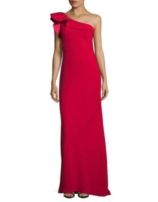 Ruffle Crepe One-Shoulder Gown by Carmen Marc Valvo