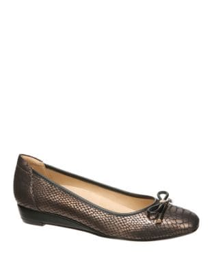 Dove Snake-Embossed Leather Flats by Naturalizer