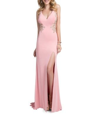 Floral Applique Floor-Length Gown by Glamour by Terani Couture