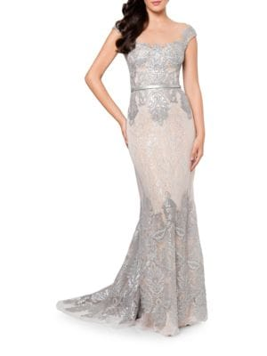 Embroidered Mesh Lace Mermaid Dress by Glamour by Terani Couture