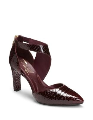 Taxcut Snake Print Leather Ankle Strap Pumps by Aerosoles