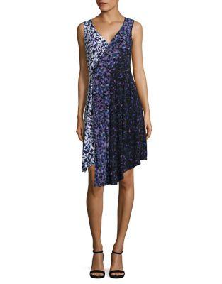Mixed Print Mock-Wrap Dress by RACHEL Rachel Roy