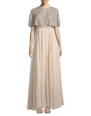 Beaded A-Line Gown and Cape Set by Aidan Aidan Mattox