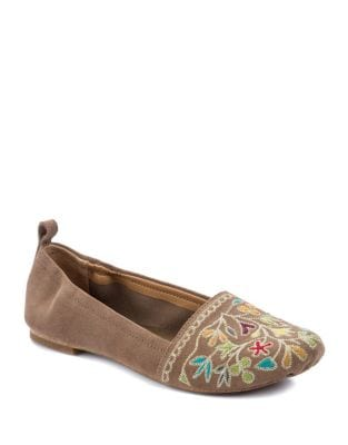 Bliss Embroidered Suede Flats by Latigo