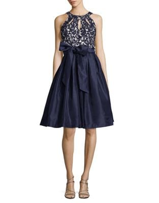 Pleated Fit-and-Flare Dress by Halston Heritage