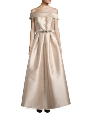 Belted Off-The-Shoulder Ball Gown by Eliza J