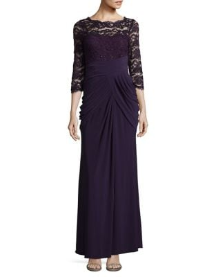 Three-Quarter Lace Sleeve Evening Gown by Adrianna Papell