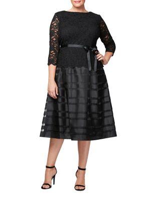 Plus Tea-Length A-Line Mock Dress by Alex Evenings