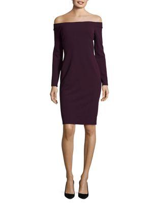 Off-The-Shoulder Minimalistic Sheath Dress by Eliza J