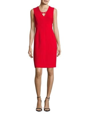 V-Neck Sheath Dress by Calvin Klein