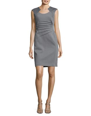 Pintucked Sheath Dress by Calvin Klein