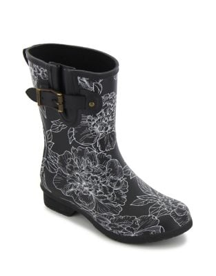 Cora Printed Matte Rubber Mid-Calf Rain Boots by Chooka