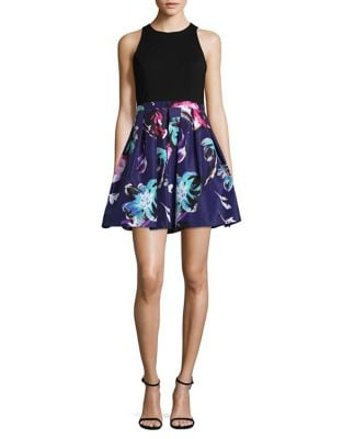 Contrast Fit and Flare Dress by Aidan Aidan Mattox