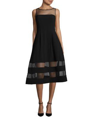 Mesh-Accented A-Line Dress by Aidan Aidan Mattox