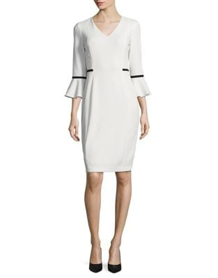 Crepe Contrast Sheath by Calvin Klein