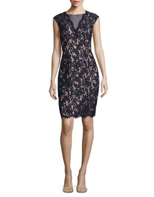 Back-Cutout Lace Sheath Dress by Vince Camuto