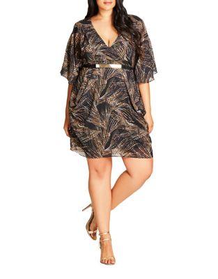 Plus V-Neck Dress by City Chic