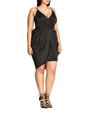 Plus V-Neck Spaghetti Dress by City Chic