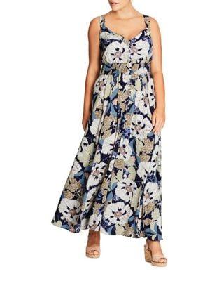 Plus V-Neck Sleeveless Dress by City Chic